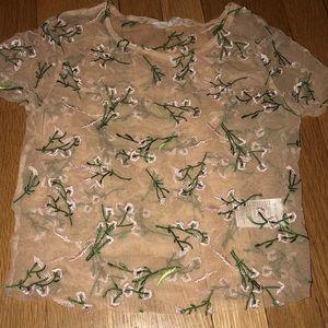 Mesh floral shirt